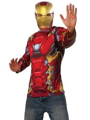 Iron Man Men's Superhero Costume Shirt and Mask Set