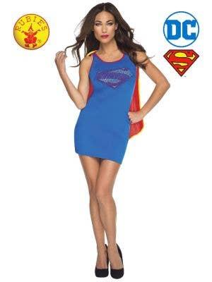 Supergirl Women's Tank Dress with Rhinestone Logo Main Image