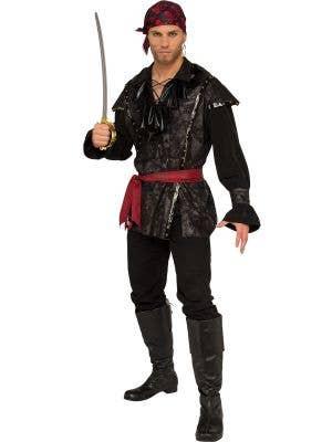 Black Plundering Pirate Fancy Dress Costume for Men - Main Image