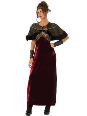Red Velvet Medieval Lady Women's Fancy Dress Costume