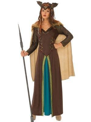 Deluxe Brown Medieval Viking Fancy Dress Costume for Women