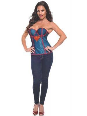 Supergirl Fishnet Overlay Women's Sexy Costume Corset
