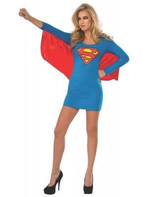 Supergirl Women's Blue Superhero Fancy Dress Costume Dress