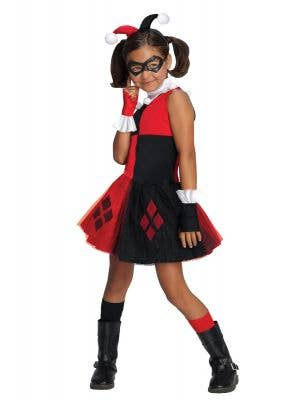 Girls Harley Quinn Super Villain Costume Front View