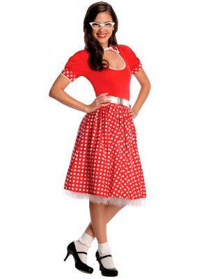 Women's Red and White Polka Dot 50's Costume