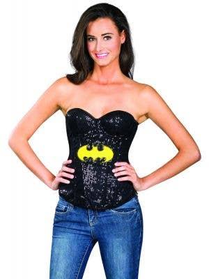 Black sexy sequinned costume corset superhero batman tv character