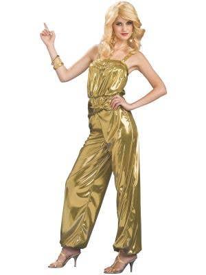 Women's Metallic Gold 70's Disco Diva Costume Main Image