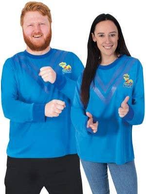 Adult's Long Sleeve Blue Wiggle Shirt - Main Image