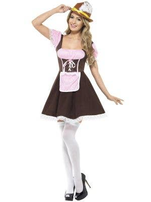 Pink and Brown Women's Tavern Girl Oktoberfest Costume Front Image