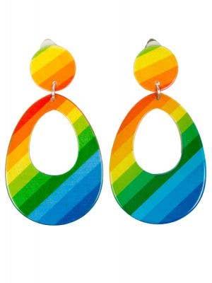 Women's Rainbow Teardrop 80's inspired clip on costume earrings Main Image