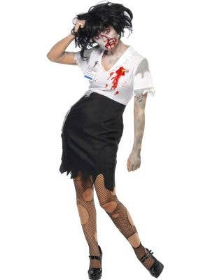 Women's Worked to Death Zombie Halloween Costume Front View
