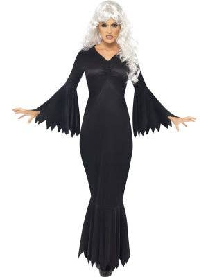 Women's Long Black Sexy Midnight Vampire Halloween Costume Front View