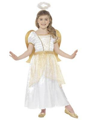 Girls Golden Christmas Angel Fancy Dress Costume - Front Image