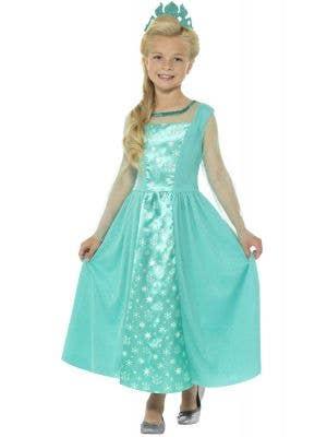 Girls Ice Princess Elsa Frozen Fancy Dress Costume Front Image