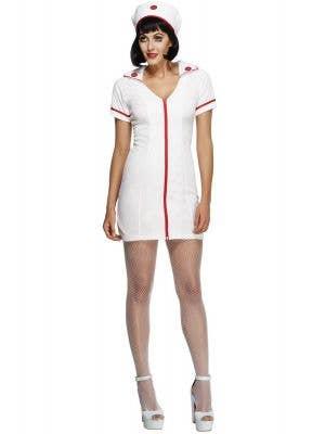 Women's Sexy Nurse Costume with Dress and Headband Main Image