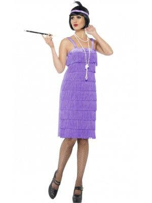 Women's Lavender 1920's Gatsby Flapper Costume Front View