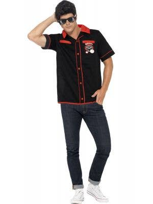 Mens 50s Dress Up Retro Bowling Shirt Costume - Front View