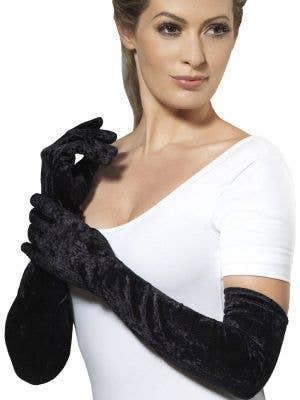 Long Black Velveteen Costume Gloves