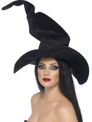 Tall And Twisty Black Velvet Witches Hat
