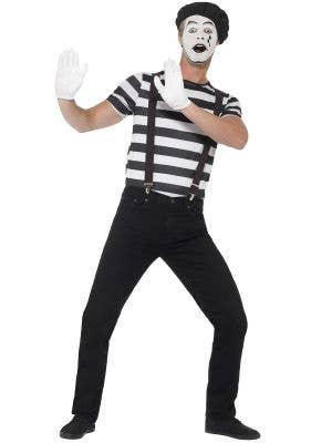 French Mime Artist Men's Fancy Dress Costume