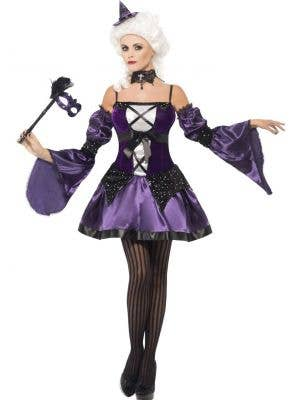 Black and Purple Baroque Witch Women's Halloween Costume - Main Image