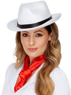Womens White Velour 1920s Gangster Hat with Black Band - Main Image