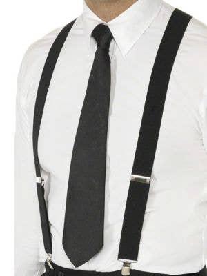 1920s Gangster Mens Black Costume Suspenders - Main Image