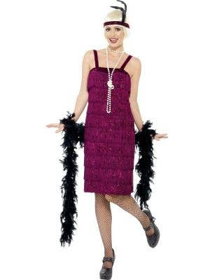 Burgundy Women's 1920s Theme Flapper Dress Up Costume Front View