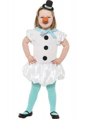 Puffball White Snowgirl Girl's Snowman Christmas Costume - Front Image