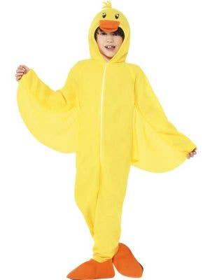 Kid's Yellow Duck Onesie Animal Ciostume Front View