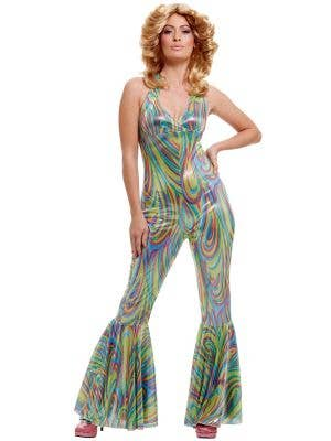 Metallic Women's Disco Jumpsuit Costume Front View