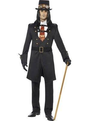 Long Black Victorian Vampire Halloween Costume for Men - Front Image