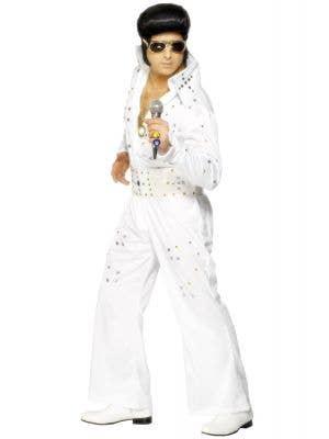 Men's White Official Elvis Presley White Jewelled Jumpsuit Fancy Dress Costume View 1
