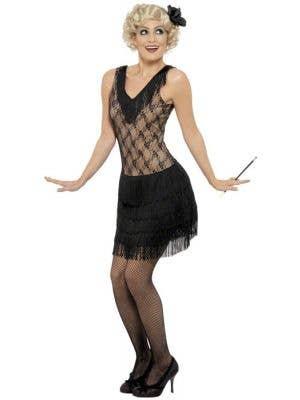 1920's Women's Black Mesh and Fringe Flapper Costume Front