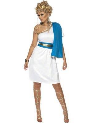 Roman Beauty Women's Blue and White Toga Costume