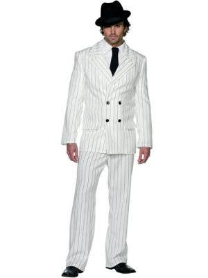 Mens 1920s Gangster White Great Gatsby Costume - Main Image