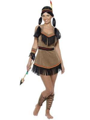 Women's Native American Indian Woman Wild West Fancy Dress Costume Main View