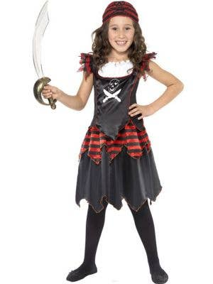 Girl's Gothic Black Pirate Fancy Dress Costume Front View