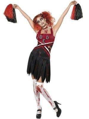 Horror High School Women's Zombie Cheerleader Halloween Costume Front View