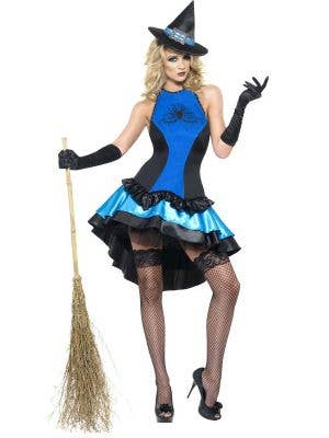 Black and Blue Satin Women's Sexy Witch Halloween Costume - Front Image