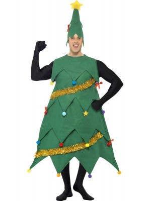 Men's Festive Green Christmas Tree Costume Front Image