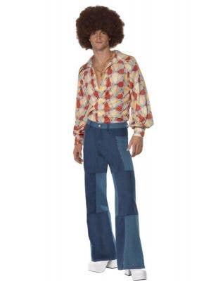Patchwork Men's 70's Disco Flares Costume Pants