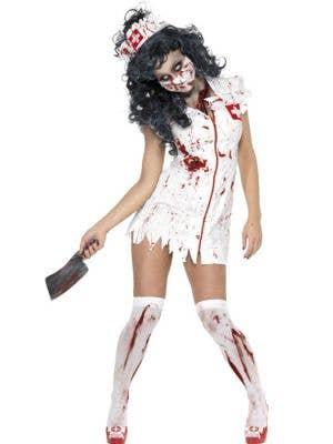 Jagged White Blood Splattered Women's Zombie Nurse Halloween Costume - Main Image
