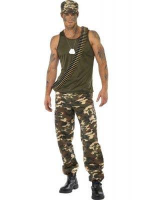 Khaki Camo Men's Army Uniform Dress Up Costume