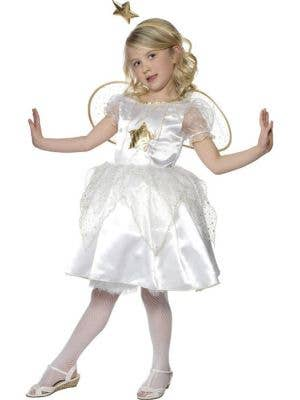 Girl's White Star Fairy Fancy Dress Costume Front View
