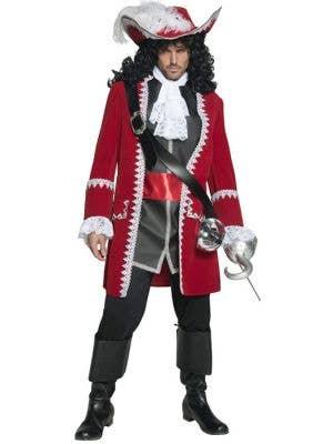 Deluxe Red Pirate Captain Men's Fancy Dress Costume