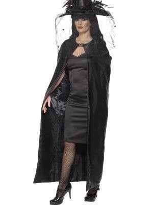 Witches Cape in Black Satin