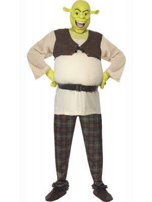 Men's Green Ogre Shrek Fancy Dress Costume Front View