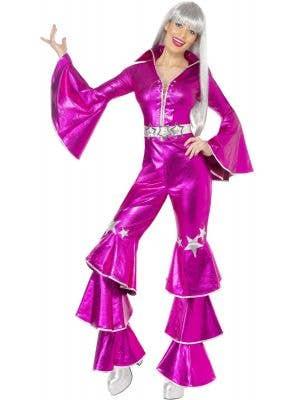 Dancing Queen Women's Pink 70's Disco Jumpsuit Costume