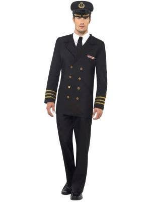 Men's Navy Captain Uniform Fancy Dress Costume Image 1